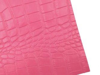 本革A4サイズ クロコ型押し      【ピンク】の画像