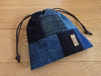 藍染め木綿を楽しむミニ巾着の画像