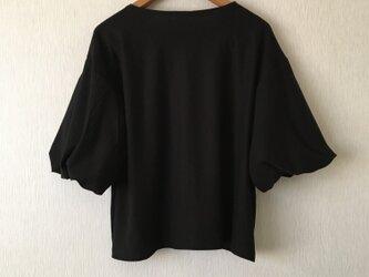 カットソー袖バルーントップス 黒Fの画像