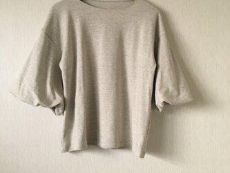 カットソー袖バルーントップス 淡杢グレーFの画像