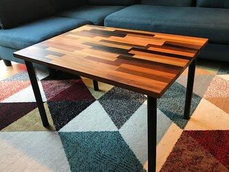 〓栄町工房〓 ミックス集成材ローテーブル 50×70×42 / 送料込み ご自身で脚取付けの画像