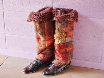 手織り もこもこファーレッグウォーマー ロングの画像