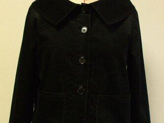 ベッチン素材 大きなショールカラーのジャケット(裏地無し)8~9分丈袖 M~Lサイズ 黒 受注生産の画像