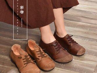【受注製作】ぺたんこ丸トウ スエードワンポイント 手製裁縫牛革レザーパンプス 靴 2色展開 SD83の画像