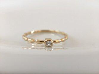 K18・ダイヤモンド  雫の指輪 #12.5の画像