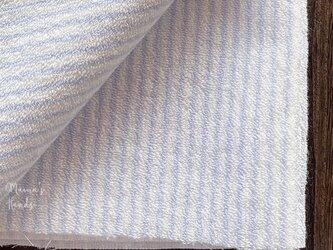 90x50 タオル パイル 綿100% 水色 細 ストライプ 良品質 はぎれ 生地の画像