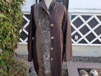 着物リメイク 古布 手作り  中綿入り 大島と紬 パッチ 防寒コート 裏地付きの画像