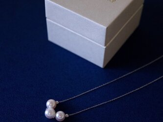 Sot.to K10WG アコヤ真珠の3粒ネックレスの画像