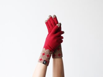 % PERCENT 手袋(FIT:レッド・ブラウン)ギフトBOX付 スマホ対応 裏起毛 グッドデザイン賞受賞の画像