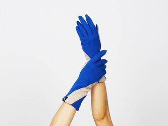 % PERCENT ジャージー 手袋(ブルー・ベージュ)女性用・ウール100%・スマホ対応・縫製手袋の画像