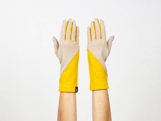 % PERCENT ジャージー 手袋(ベージュ・イエロー)女性用・ウール100%・スマホ対応・縫製手袋の画像