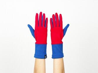 % PERCENT ジャージー 手袋(レッド・ブルー)女性用・ウール100%・スマホ対応・縫製手袋の画像