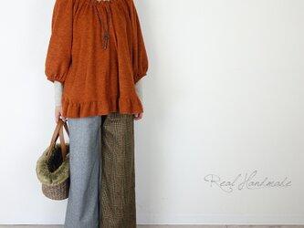 ウールツイードヘリンボーンと起毛グレンチェックワイドパンツの画像
