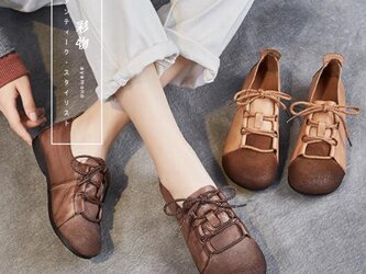 【受注製作】ぺたんこ丸トウ 紐結び 手製裁縫牛革レザーパンプス 靴 2色展開 GE392の画像
