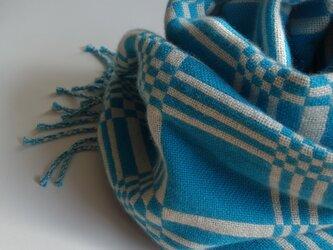 手織りカシミアストール・・トルコブルー×ミルクの画像