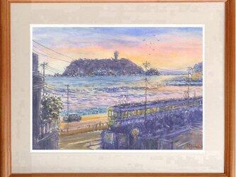 水彩画原画 江の島夕景 #451の画像
