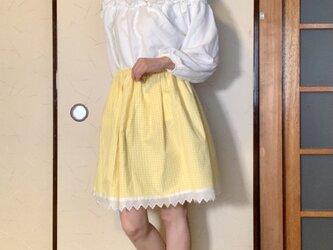 黄色チェック 膝丈ゴムのスカートの画像