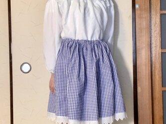 ブルーチェック 膝丈ゴムのスカートの画像