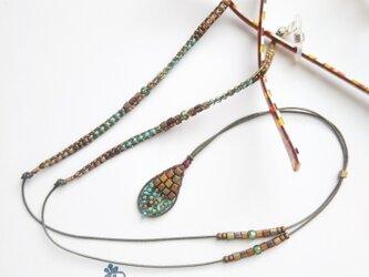 滴チャームのグラスコード&ネックレス(#843)の画像