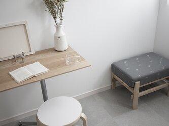 Rectangle table/ホワイトオーク無垢/70cm×50cm /高さ&脚カラー選択/リモートワークの画像