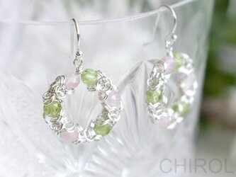桜色* ペリドットと ローズクォーツと チェーンの ピアス / SV925の画像