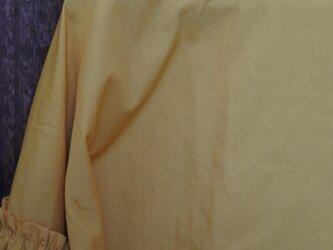 送込コットン袖ギャザーブラウス マスタードの画像