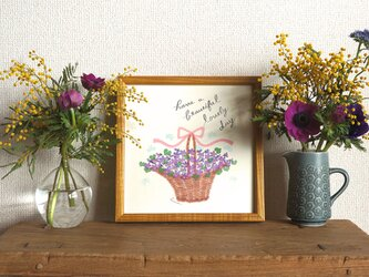 「スミレの花かご」20cm角ポスター(文字入り/なし)の画像