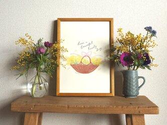 「ミモザの花かご」A4ポスター(文字入り/なし)の画像