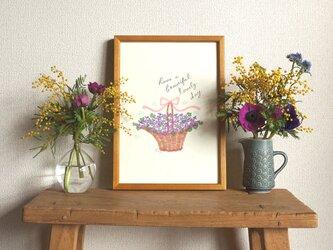 「スミレの花かご」A4ポスター(文字入り/なし)の画像