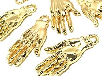 魔術師の怪しげな手チャーム ゴールド 6個【謎刻印 手ピアス イヤリングパーツ ハンドメイド素材】の画像