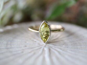 マーキスカットのカナリートルマリン指輪の画像