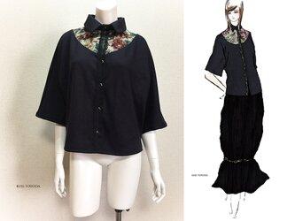 【1点もの・デザイン画付き】ネイビーニット着物袖アーチゴブラン織り切り替えブラウス(KOJI TOYODA)の画像