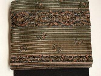 縞に更紗模様の紬の名古屋帯の画像