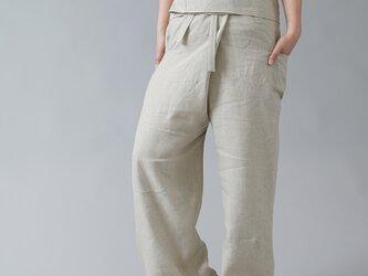 【wafu】中厚リネン タイパンツ linen wide pants/亜麻ナチュラル b021a-amn2の画像
