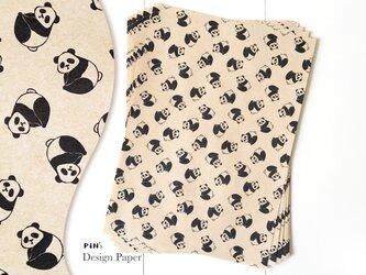 A4サイズの包装紙 10枚入り パンダ (クラフト) | 動物柄のデザインペーパーの画像