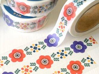 アネモネのマスキングテープ (ホワイト) | PiNオリジナルデザイン 花柄 北欧 春の画像