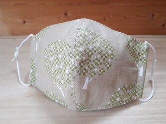 【再】立体マスク[L]*ツリー×抗菌加工ダブルガーゼ(白)の画像