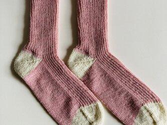 手編み靴下【Opal KFS 単色  おとめつばき】の画像
