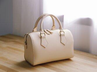 【切線派】本革手作りの二本手ファスナーボストンミニバッグバッグの画像