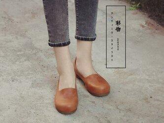 【受注製作】ぺたんこ丸トウ 手製裁縫牛革レザーパンプス 靴 茶色 DKT73の画像