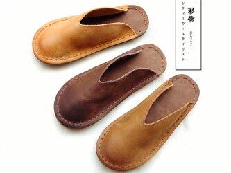 【受注製作】ぺたんこ型パンプスサンダル 手製裁縫牛革レザー靴 3色展開 WYE382の画像