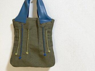 N様オーダー/つまみ縫い模様のジュートかばんの画像