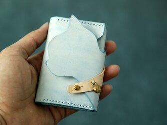 可愛い猫ー手作り天然革名刺入れ小型カードケースの画像
