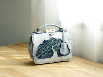 【孔雀】がま口バッグ 本革手作りのレザーショルダーバッグ 総手縫い 手持ち 肩掛け 2WAY 鞄 大の画像