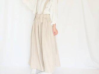 春支度・リネン♡ワイドサスペンダーギャザースカート♡シーズンレス・エイジレスの画像