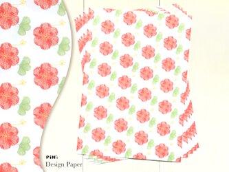 A4サイズの包装紙 10枚入り 公園の花 | 赤いお花のデザインペーパーの画像