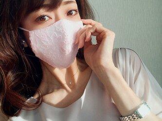 【パステルピンク:普通】豪華刺繍で魅せる♡オシャレな大人の「ちょっと贅沢なレースマスク」春待ち春色ペールトーンマスクの画像