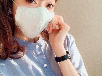 【ミントグリーン:普通】豪華刺繍で魅せる♡オシャレな大人の「ちょっと贅沢なレースマスク」春待ち春色ペールトーンマスクの画像