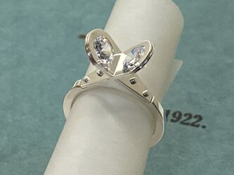 Right angle confrontation CZ Ring  (Oder Production)の画像