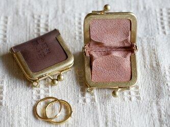 真鍮使いの口金リングケース/ブラウン×アッシュピンクの画像